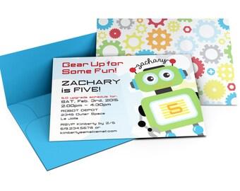 Robot Invitation | Robot Invite | Robot Birthday | Robot Birthday Party | Custom Printable