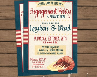 Shrimp Boil - Engagement Party Invitation - Wedding - Co-ed - Couples - Engagement - Seafood Boil - Low Country Boil - Printable