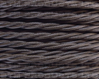 1m Vintage Brown Braided TWISTED Fabric Cable Lighting Flex. 3 Core 3 Amps.