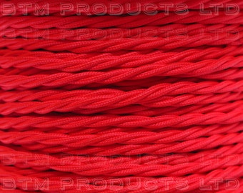 1m Vintage Red Braided TWISTED Fabric Cable Lighting Flex. 3 Core 3 Amps