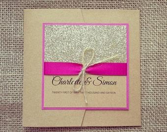Rustic Glitter Pocketfold Invitation