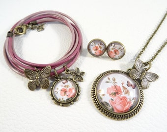 """Jewelry set """"shabby pink butterfly"""""""