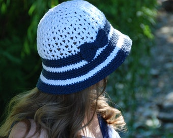 nautical hat for women,women summer hat, bucket hat, cloche hat, cotton women's hat, hat with brim, hat with bow, made to order
