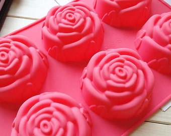 6-holes Big rose flower mold Silicone Cake Mold Handmade Chocolate Mould Ice tray cube pudding mould handmade soap mold Baking tools