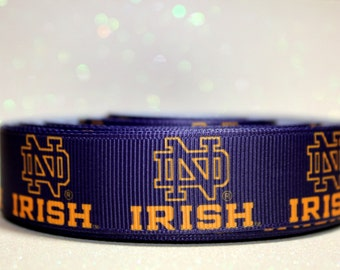 "7/8"" Notre Dame Ribbon - College Ribbon - Fighting Irish"