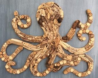 Driftwood Octopus Coastal Wall Decor
