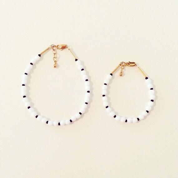 Black + White Beaded Stacking Bracelet | White, Black + Gold Beaded Stacking Bracelet for Baby Toddlers Girls Adults, Mommy and Me Bracelets