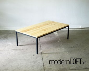 Table basse industrielle bois et m tal - Table basse metal industriel loft ...