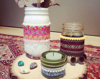 Painted Mason 'Gypsy' Jars with fabric accents. Home or wedding decor. Set of 3.