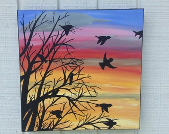 Sunset With Black Tree and Birds - Sunrise With Black Tree and Birds - Tree Painting - Bird Painting