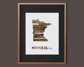 Minnesota Art Print Minnesota State Art Print Minnesota Wall Art State Map Print Map Art Print State Map Print Home Wall Art Wood Wall Print