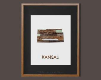 Kansas State Art Printable Kansas Art Printable State Wall Art Printable State Map Printable Home Wall Art Faux Wood Wall Art Printable Gift
