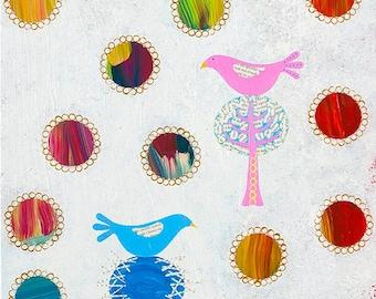 Bird art print, bird giclee print, bird painting, nesting, bird in a nest, bird in a tree, collage bird, collage tree, coloured circles.