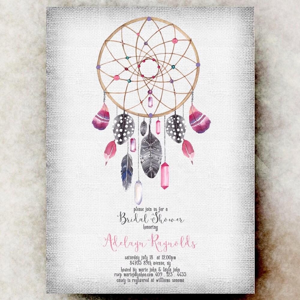 Dream Catcher Bridal Shower Invitation Printable Feather