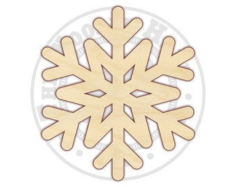 "Snowflake 4""-12"" - Wood Cutout  - 170150 - Unfinished wood"