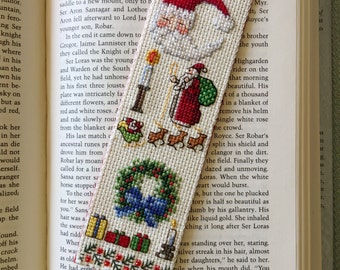 """Cross Stitch Bookmark, """"Christmas Little Things"""", Handcrafted Bookmark, Gift for Bookworm, Christmas Gift"""