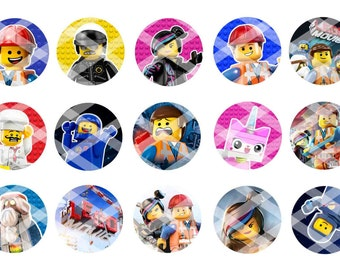 Printed 4x6 Sheets (Five Total) The Lego Movie Bottle Cap Images...75 Images...You Choose UNCUT or PRE-CUT