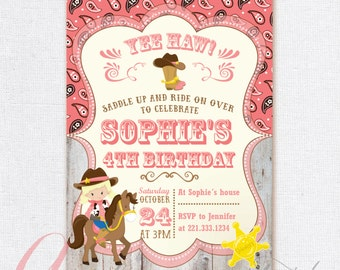 Cowgirl Invitation. Cowgirl Birthday Party. Cowgirl Printable invitation. Western invitation.