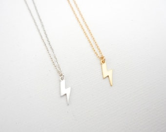 Tiny Bolt Necklace, Thunder Bolt Necklace, Lightning Jewelry, Gift For Her, Silver
