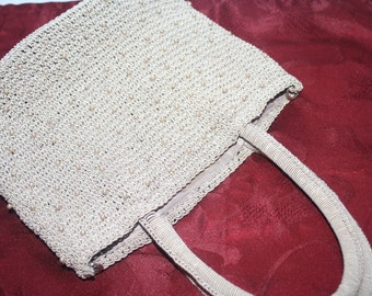 Etsy Sale Vintage Beige Crocheted Handbag,Women's Purse