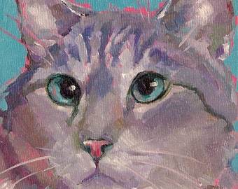 CAT PRINT, dAILY pAINTER, KITTy pOP aRT, Grey Tiger Cat print fun, funky, colorful