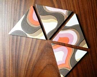 Wooden coasters | retro, vintage, geometric, handmade | set of 4