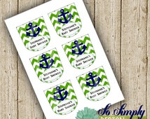 NEW Bath & Body Works Style** Anchor/Nautical Baby Shower Hand Sanitizer Labels **Custom**