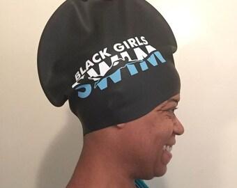 Black Girls Swim XL Cap