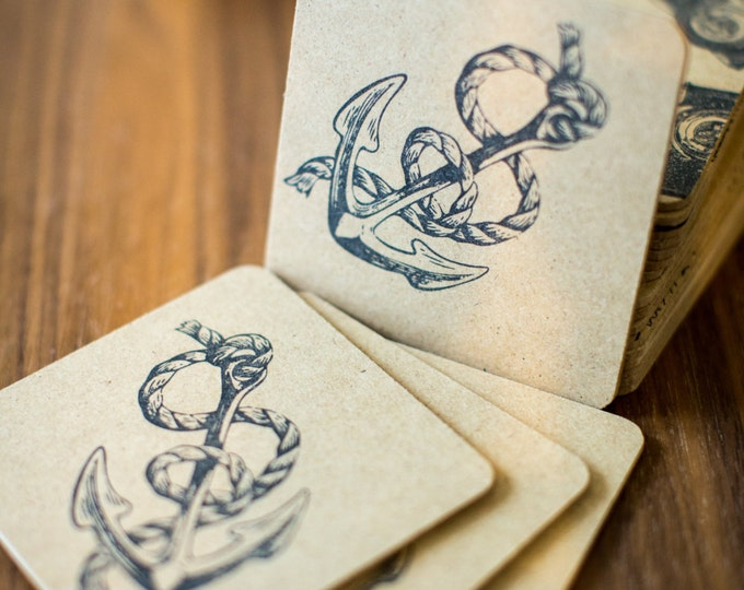 Anchor Coasters 6 Pack - handmade, hand stamped, anchor, boat, nautical, sea life, party favors, gifts, rustic, flat rate shipping