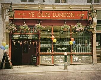 London Pub, London Photography, England, English Pub, Fine Art Print, Wall Art, Office Decor, Home Decor, Red, Gold, Brown, Kitchen Decor