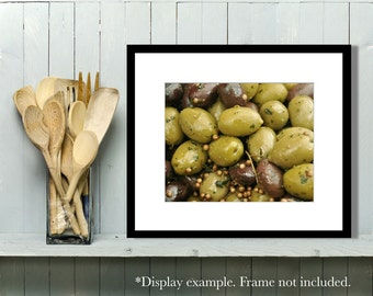 Food Photography, Europe, Market, Olives, Kitchen Art, Kitchen Decor, Sage Green, Wall Art, Home Decor, Restaurant Decor