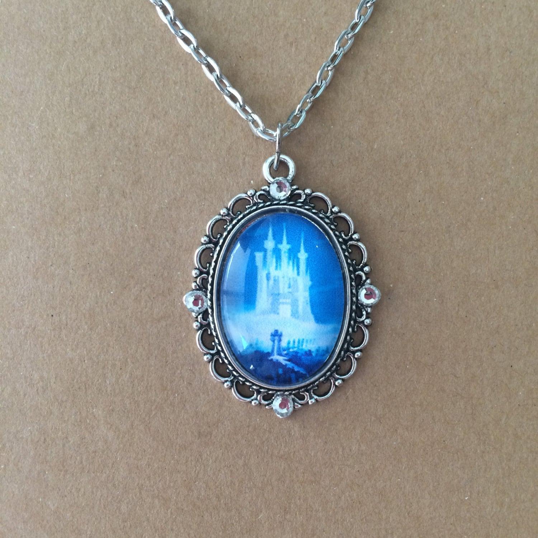 handmade cinderella s castle cameo necklace