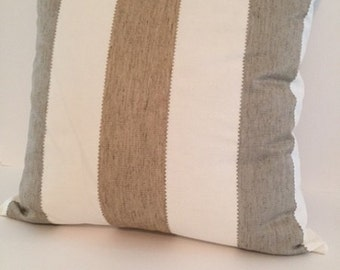 Nautical pillow, Sand Brown and Gray stripe pillow cover