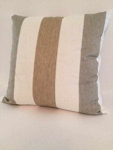 nautical pillow sand brown and gray stripe pillow by plushpup. Black Bedroom Furniture Sets. Home Design Ideas