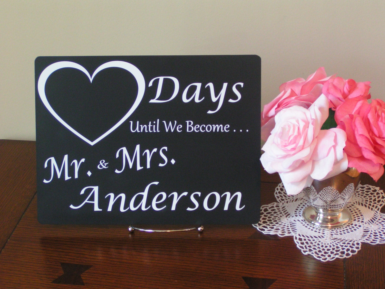 Wedding Countdown Sign Wedding Day Countdown Wedding