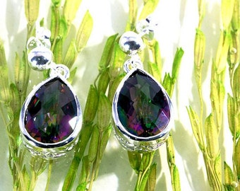 Mystic Topaz and Silver Earrings   --  4919