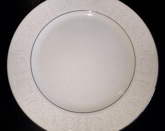 Southwicke China Dinner Plate - White Design with Platinum Rim