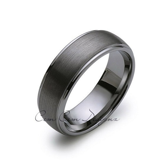 8mm tungsten wedding bandgun metal dome by cemcemdesignz for Mens gunmetal wedding rings