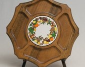 Vintage Wooden Lazy Susan With builtin Trivet - Fruit Design - 1970