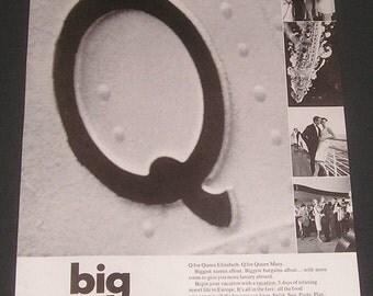 1966 Cunard Cruise Lines, Print Ad, Queen Elizabeth & Queen Mary Ship Travel