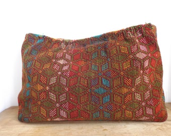 Vintage Tapestry Purse Material -upcycle, tribal pattern, ethnic, blue green, red,