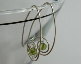 Peridot Earrings Sterling Silver Spiral Earrings August Birthstone