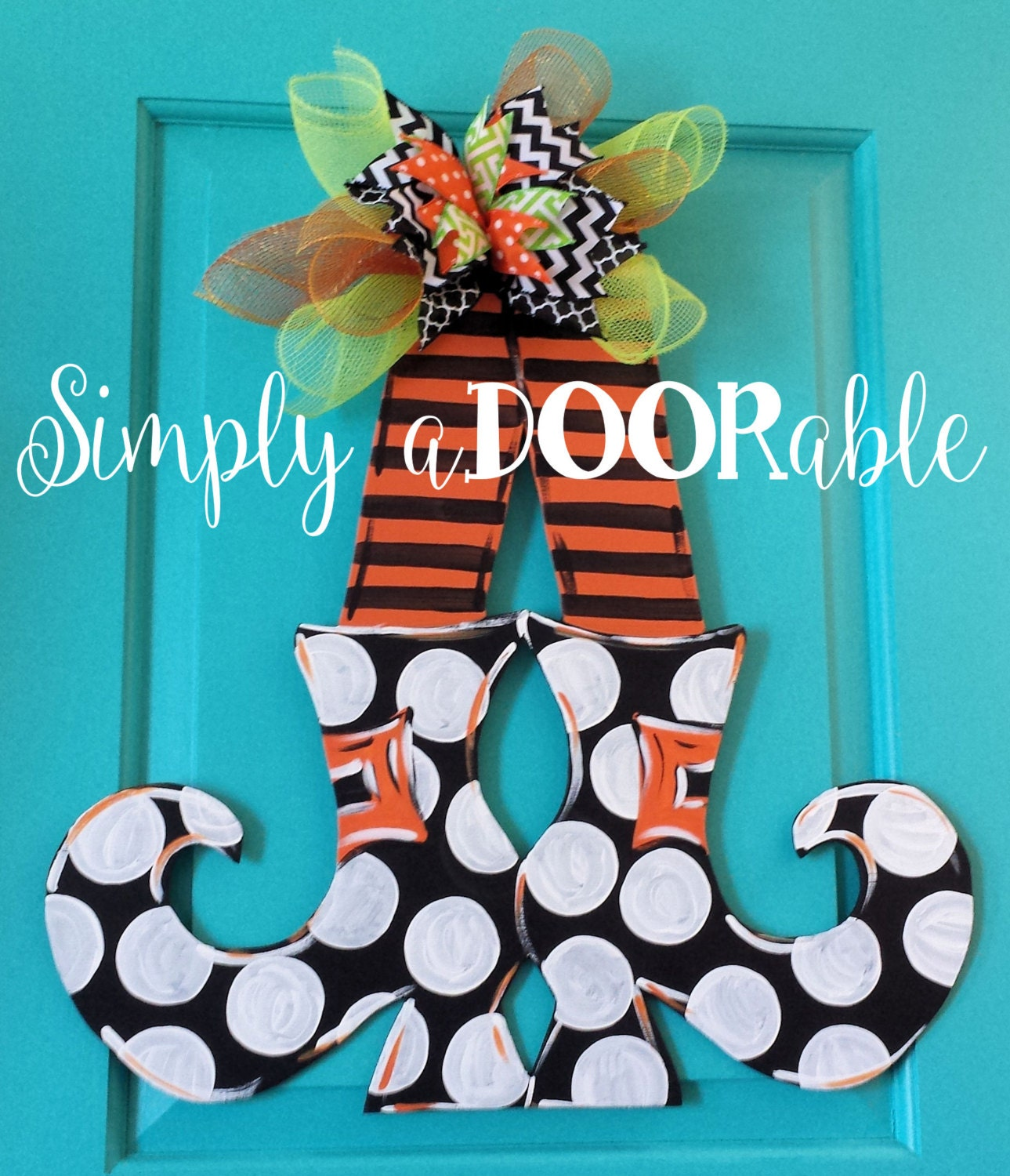 Happy Halloween Witch Legs Wood Door Hanger By Simply