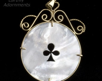 14k antique Chinese mother of pearl gambling chip pendant. (pdfn121)