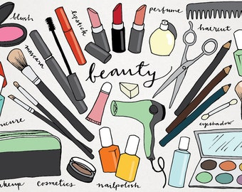 Makeup & Beauty Clipart - hand drawn clip art, makeover clipart, lipstick, nail polish, blush, haircut, scissors, eyeshadow, eyeliner