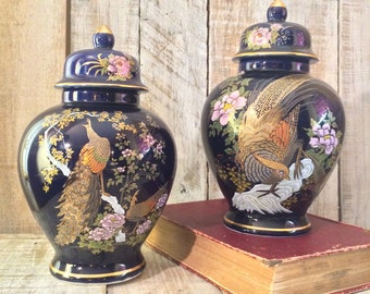 Blue Bird Urns, Ginger Jar, Cobalt Blue Urn, Urn Vase, Vase Jar, Porcelain, Colbalt Blue Jar, blue jar with Lid, Blue Urns, Decoravive Vases
