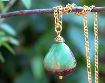 Chrysoprase Stone Pendant Necklace.18K Gold Filled Chain.Statement.Dainty.Bridal.Mother's.Boho.Layering.Everyday.Handmade.