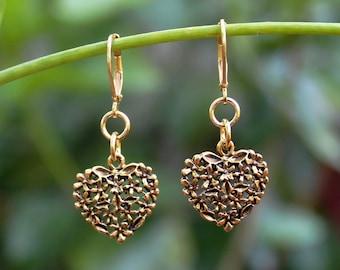 Gold Heart Dangle Earrings.Metal plated in 24 Karat Gold. Drop.Valentine.Mother's.Bridal.Birthday.Graduation.Friendship.Gift.Love. Handmade.