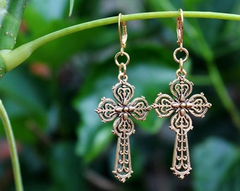 Cross Dangle Earrings.Metal plated in 24 Karat Gold.Drop Earrings.Religious.Spiritual.Confirmation.Christian.Gift. Handmade.
