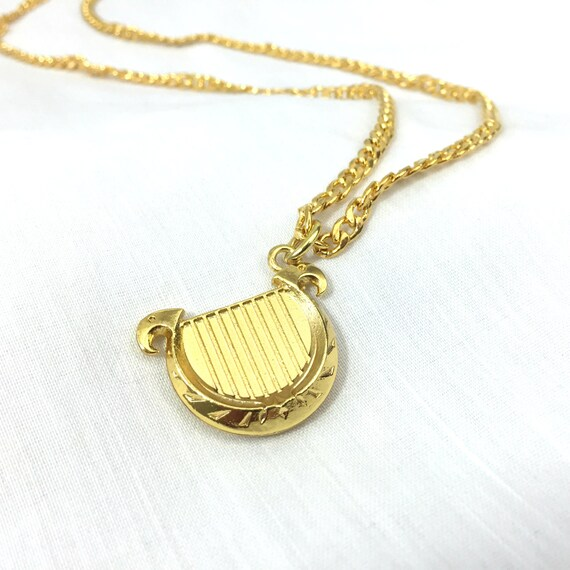 Harmonica Necklace: Gold Goddess's Harp Pendant Necklace By ClaytonJewelry On Etsy